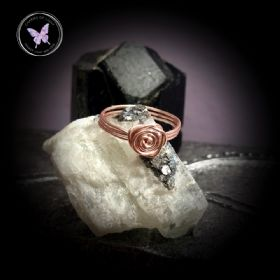 Wire Wrapped Rose Flower Swirl Ring